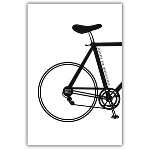 Elegant Poetry Modern Simple Bicycle Inspirational Black And White Canvas Painting Art Print Poster Wall Paintings Wall Decor