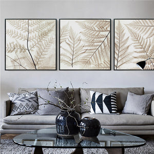 Elegant Poetry Nordic Pteridophyte Leaves Simple Abstract Canvas Painting Art Print Poster Image Mural Personality Bedroom Decor