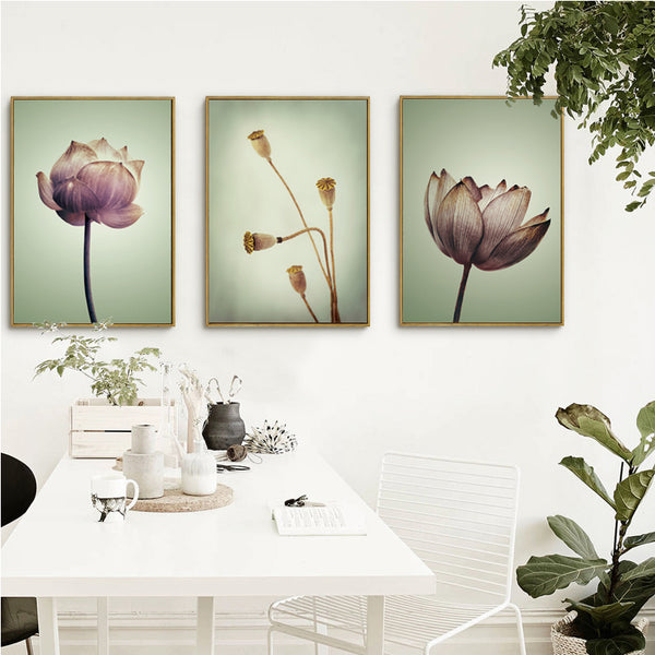 Elegant Poetry Modern Chinese Lotus Floral Features Canvas Painting Art Print Poster Image Mural House Bedroom Decoration