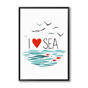 Elegant Poetry Nordic Simple Ocean Fish Sailboat and Seagull Canvas Painting Art Print Poster Picture Paintings Home Wall Decor