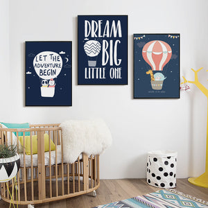 Elegant Poetry Hot Air balloon Dream Adventure Animals  Canvas Painting Art Print Poster Picture Wall Painting Home Decoration
