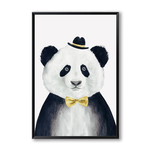 Elegant Poetry Nordic Cute Animal Bear Panda A4 Canvas Painting Art Print Poster Picture Modern Home Decor Child Bedroom Decor