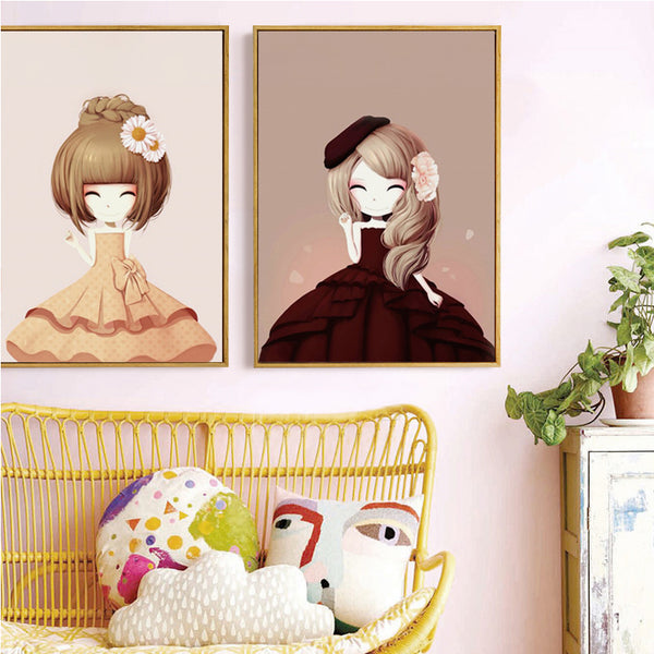 Elegant Poetry Princess Cartoon Cute Flower Girl Multi-Size Canvas Painting Print Poster Picture Home Girl Bedroom Decoration