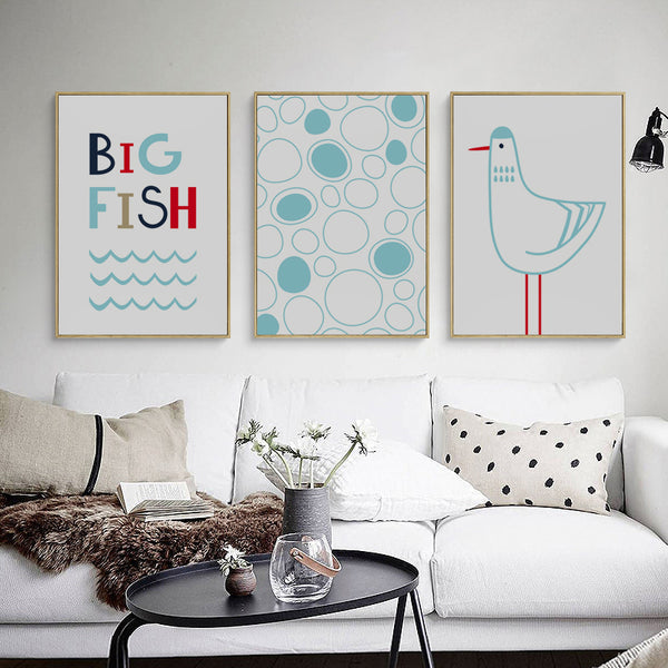 Elegant Poetry Small Fresh Simple Sea Fish Seagull A4 Canvas Painting Art Print Poster Picture Wall Paintings Home Wall Decor