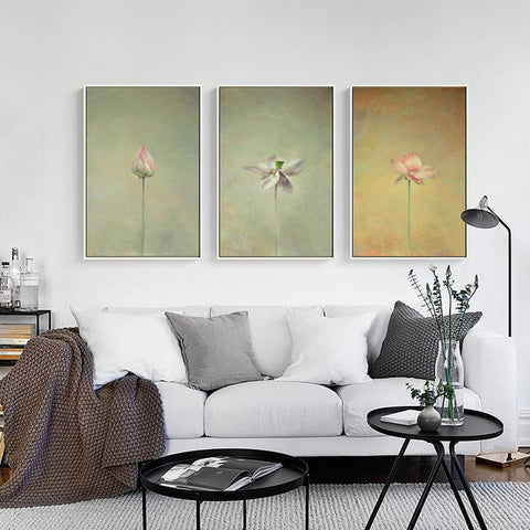 Elegant Poetry Chinese Lotus Ink Painting Zen Illusory Yoga Canvas Painting Art Print Poster Picture Wall Simple Bedroom Decor