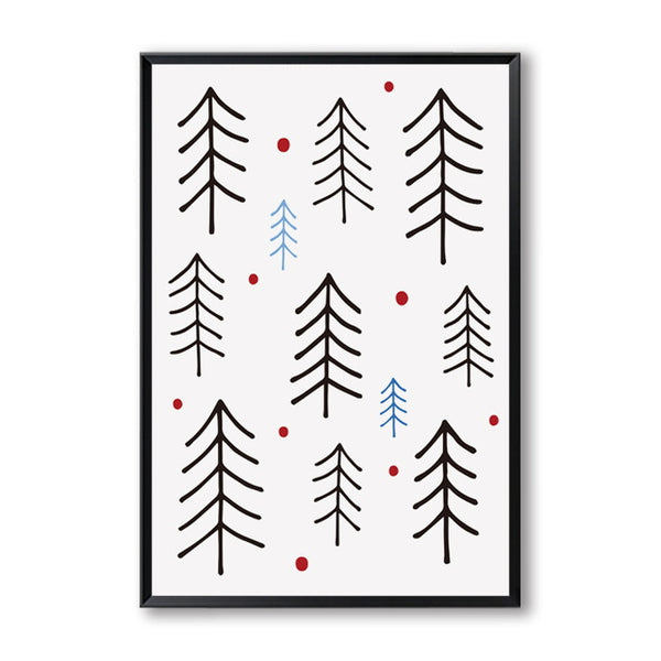 Elegant Poetry Modern Simple Nordic Art Abstract Winter Forest Canvas Painting Art Print Poster Picture Child Bedroom Wall Decor