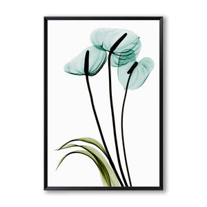 Elegant Poetry Modern Minimalist Blue Transparent Flowers Canvas Painting Poster Art Wall Picture Home Bedroom Decor
