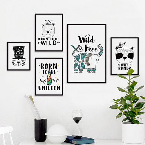 Elegant Poetry Nordic Simple Circus Animals Canvas Painting Art Print Poster Picture Wall Paintings Wall Decor, Home Decoration