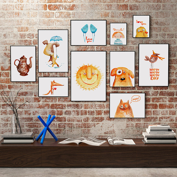 Elegant Poetry Nordic Modern Simple Cartoon Animal A4 Canvas Painting Art Print Image Poster Wall Children Bedroom Home Decorati