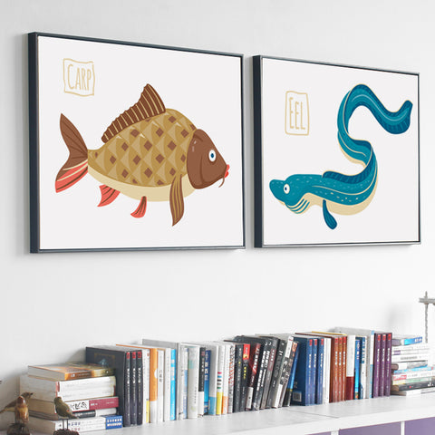 Elegant Poetry Fish and Shrimps Marine Fish Cartoon A4 Canvas Painting Art Print Poster Picture Wall Paintings Bedroom Decoratio