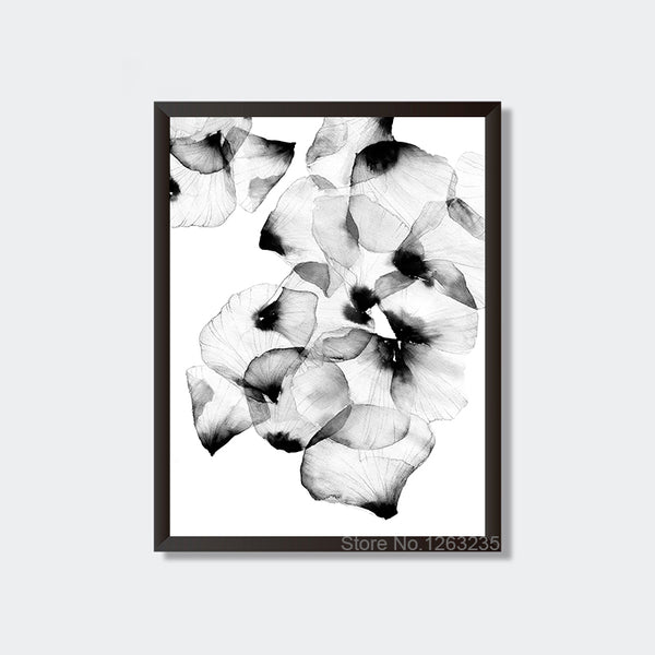 Cuadros Decoration Petal Wall Art Canvas Painting Black And White Girl Wall Pictures For Living Room Nordic Poster Unframed