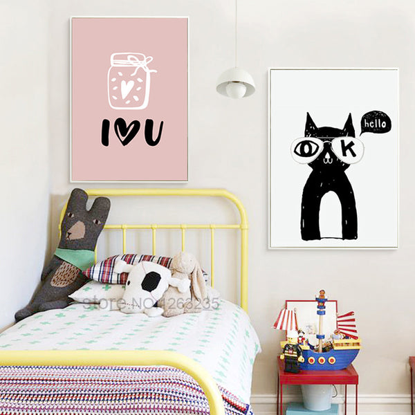 Nordic Poster Nordic Style Kids Decoration Infantil Cartoon Baby Wall Art Canvas Painting Wall Pictures For Living Room Unframed