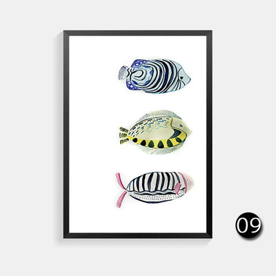 Cute Fish Cat Nordic Poster Fox Cuadros Decoration Wall Pictures For Living Room Wall Art Canvas Painting Wall Decor Unframed