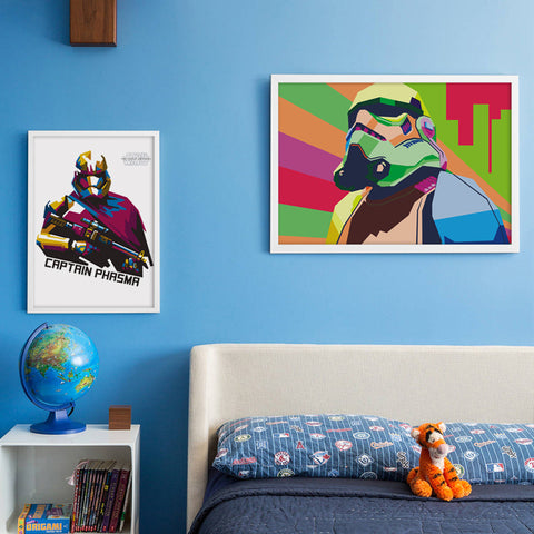 Wpap Art Star War Movie Phasma And Stormtrooper Portrait Canvas Painting Print Poster Picture Children Bedroom Deco
