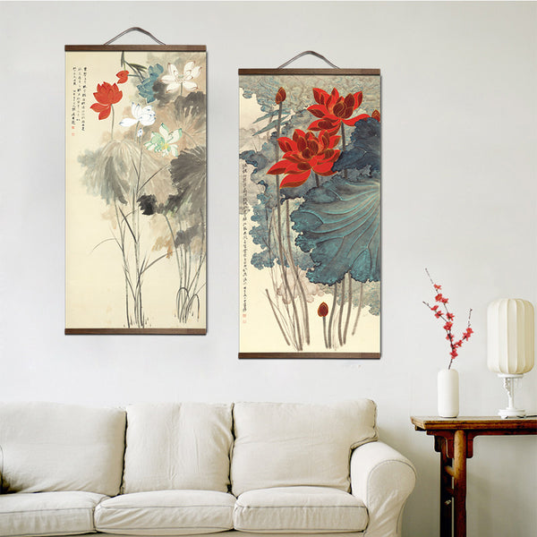 chinese style landscape Green plants canvas decorative painting Store bedroom living room wall art solid wood scroll paintings