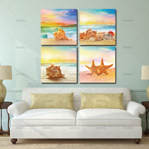 Wall Art for Home Decorations 4 Piece Modern Seascape shells Canvas Print Artwork Landscape Sea Beach Pictures Canvas Paintings