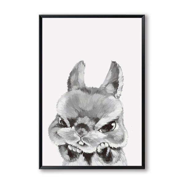 Elegant Poetry Black  White Cat and Dog Owl Animal Sprout Pet Series A4 Canvas Painting Art Print Poster Picture Wall Home Decor