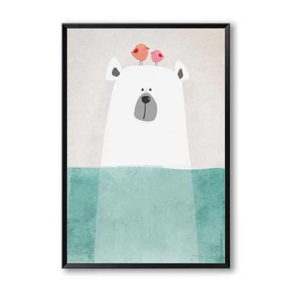 Elegant Poetry Modern Nordic Kawaii Bear Hippo Bird Animals Cartoon A4 Canvas Painting Art Print Poster Picture Home Wall Decor