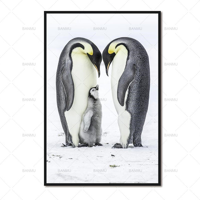 New arrival the Canvas Painting  decoration for the living room wall art Unframed Photo Two cute penguins for baby room