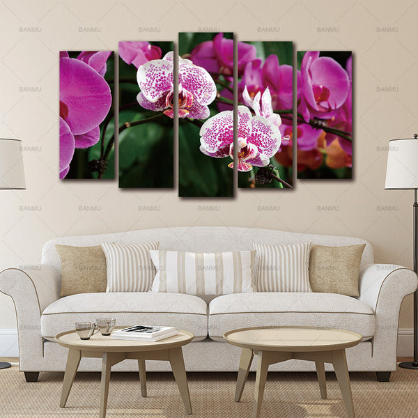 Print Poster Canvas Wall Art Pink Orchids Cuadros Decoracion Unframed 5 Pcs Oil Painting Modular Wall Pictures For Living Room
