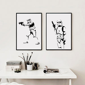 Star Wars Film Imperial Stormtrooper Black and White Canvas Painting Art Print Poster Picture Home Decoration Mural