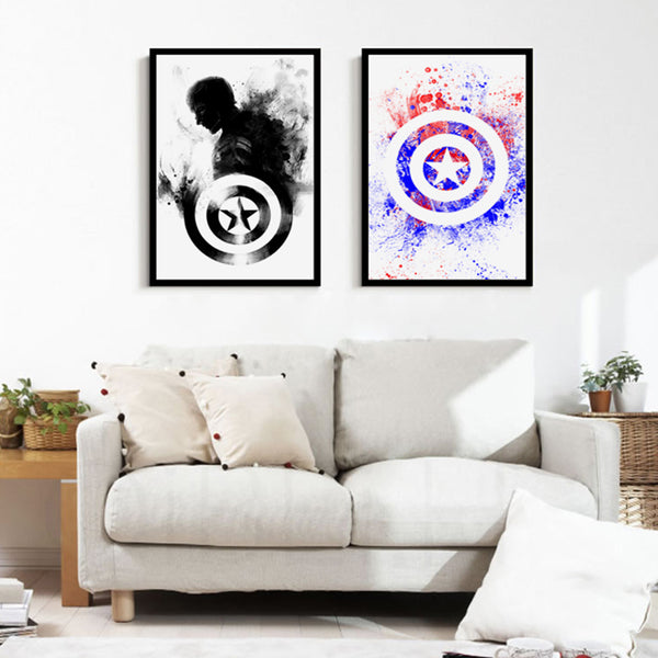 Modern Minimalism Marvel Comics Captain America Canvas Painting Art Print Poster Picture Wall Paintings Home Decor