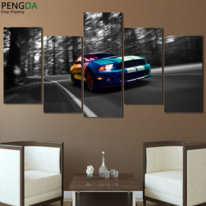 Canvas Wall Art Pictures Home Decor Framework 5 Pieces Luxury Blue Sports Car Painting HD Printed Modular Poster For Living Room