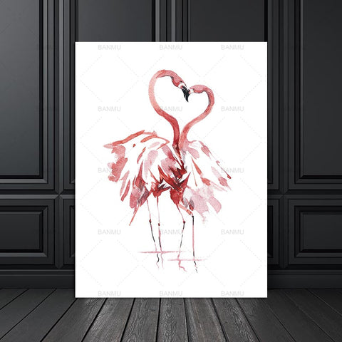 canvas painting Watercolor Flamingo Canvas Art Print Painting Poster Wall Pictures for Home Decoration Giclee Print Wall Decor