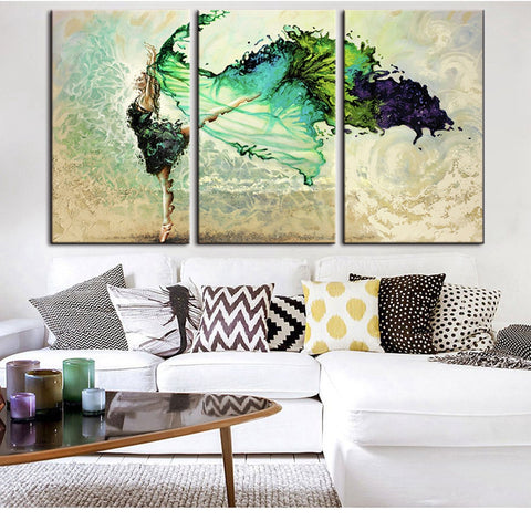Abstract Home Decorative for Bedroom 3 Piece Canvas Art Girl Dancing Canvas Painting for Living Room Wall Art Decoration Poster