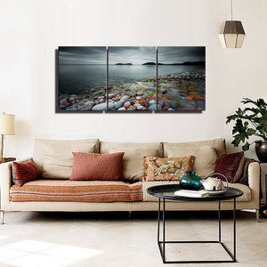 Landscape Poster Canvas Wall Art Stone Beach Sunset Lake Heavy Clouds Home Decoration 3 Piece Canvas Painting Prints Artwork