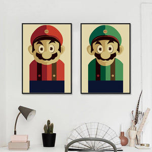 Super Mario Japanese Game Cartoon Retro pop Canvas Painting Art Print Poster Picture Wall Paintings Home Decoration
