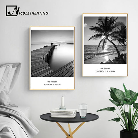 Sea Beach Bridge Sunset Landscape Wall Art Canvas Posters and Prints Nordic Painting Wall Picture for Living Room Home Decor