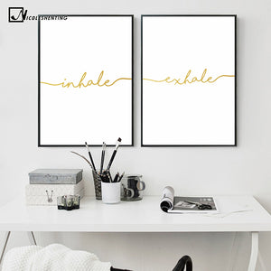 NICOLESHENTING Inhale Exhale Quotes Poster Prints Minimalist Wall Art Canvas Painting Decorative Picture Nordic Decoration