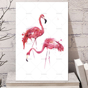 canvas painting Watercolor Flamingo Canvas Art Print Painting Poster, Wall Pictures for Home Decoration, Giclee Print Wall Decor