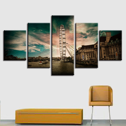 Modular Painting Canvas Wall Art Pictures 5 Panel Retro Scenery Home Decoration For Living Room Modern HD Print Poster Frame