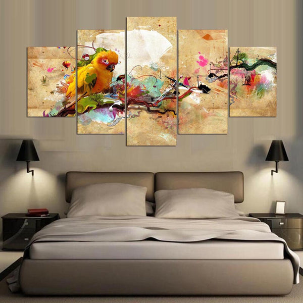 Modern Painting Living Room HD Printed 5 Panel Bird Animal Modular Decoration Posters Picture On Canvas Wall Art Home Frame