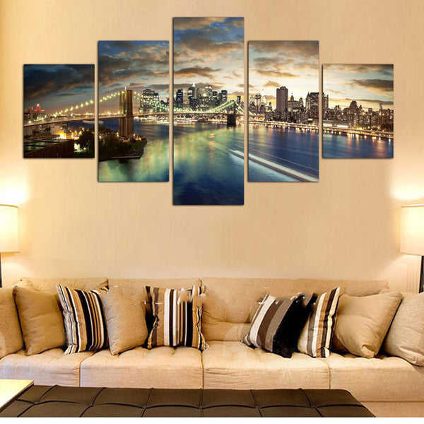 Canvas Painting Wall Art Poster Modular Pictures For Living Room 5 Panel New York City Landscape Abstract Framework Home Decor