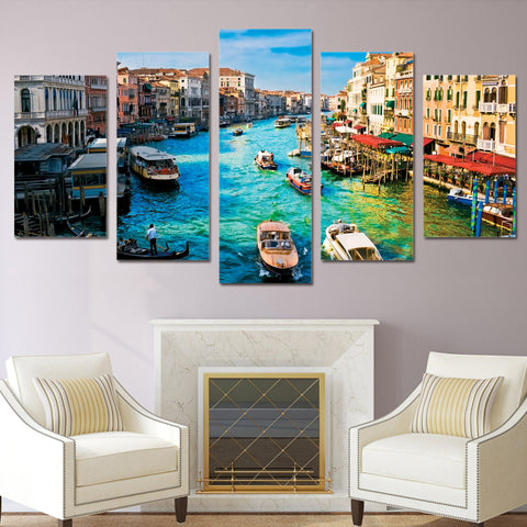Frame HD Printed Modern Wall Art Painting Canvas 5 Piece/Pcs Venice Water City Scenery Home Decor Living Room Modular Pictures