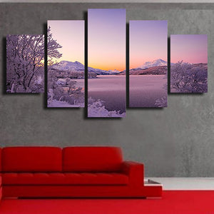 Modern Wall Art Pictures Frame Living Room 5 Piece/Pcs Snow Mountain Nature Scenery Home Decoration Poster HD Printed Painting