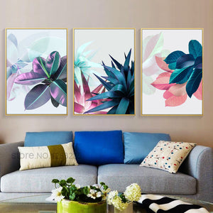 Succulent Plants Nordic Poster Colorful Leaf Posters And Prints Wall Art Canvas Painting Wall Pictures For Living Room Unframed