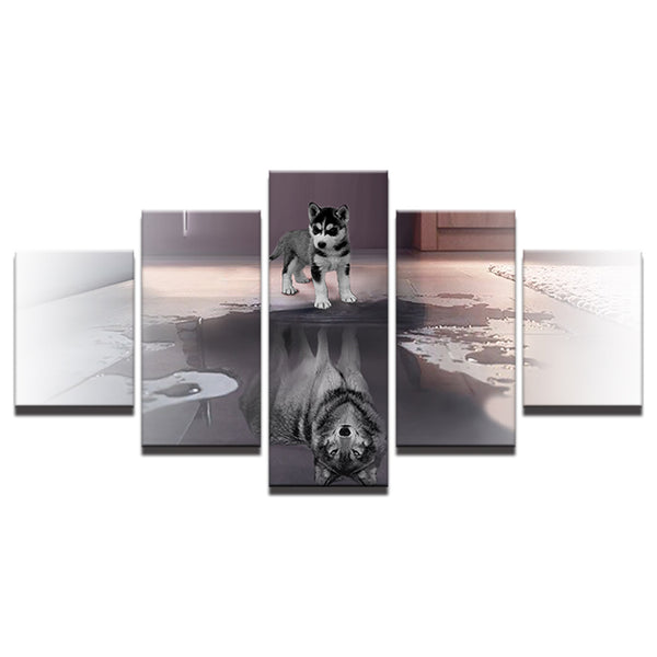 HD Prints Decor Modern Home Living Room Frame 5 Pieces Animal Dog And It Shadow Pictures Canvas Painting Modular Poster Wall Art