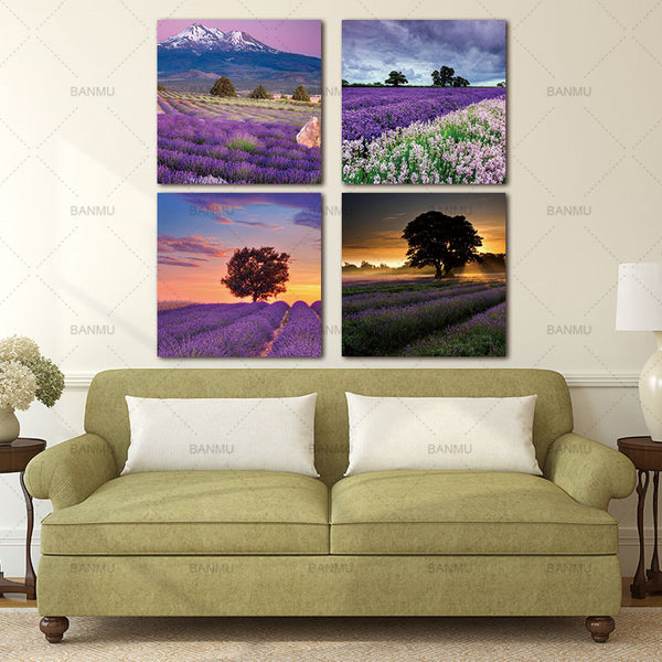 4 Pieces Lavender Landscape Paintings Canvas Oil Art Printing Purple Flowers Home Wall Decor Modular High Quality Pictures