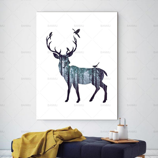 Nordic Abstract Wall Pictures Deer Pine Forest  Natural Living Room Art Decoration Picture Scandinavian Canvas Painting No Frame