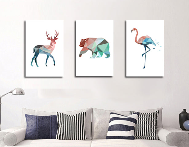 Custom Geometry Deer Polar bear Crane Art  Painting Print Poster Nordic Style Wall Art Pictures for Home Office Decoration