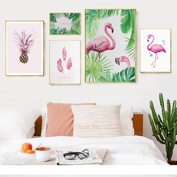Watercolor Cuadros Decoracion Wall Art Canvas Painting Flamingo Paintings Wall Pictures For Living Room Nordic Poster Unframed