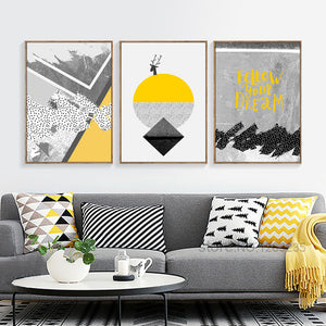 Modern Abstract Deer Yellow Painting Gray Geometric Nordic Poster Geel Posters And Prints Wall Pictures For Living Room Unframed