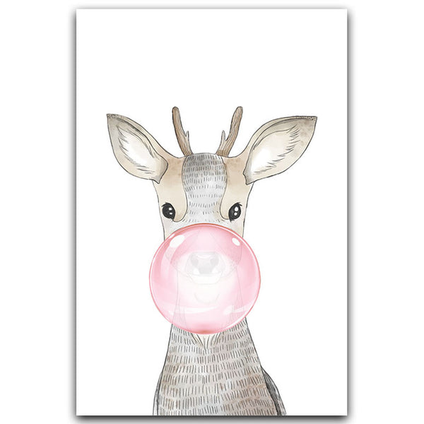 Elegant Poetry Nordic Fashion Cute Bubble Gum Animal Canvas Painting Art Print Poster Picture Children Bedroom Home Decor