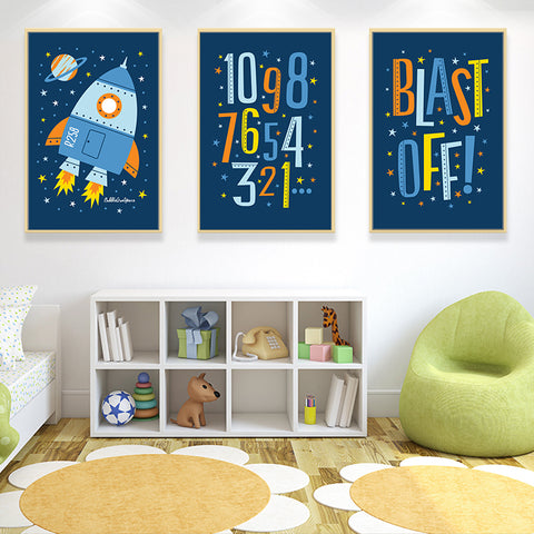 Elegant Poetry Blue Cartoon Boy's Space Rocket A4 Canvas Art Painting Print Poster Picture Wall Baby Dream Bedroom House Decor