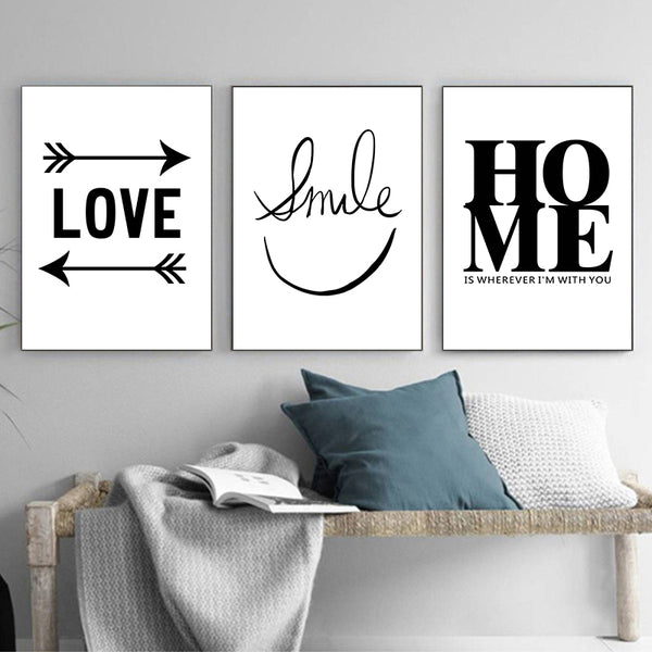 Black And White Smiley Warm Phrase With Animal Canvas Painting Art Print Poster Picture Wall Minimalist Home Decor Painting
