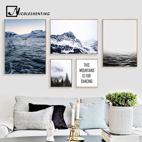 Foggy Forest Mountain Canvas Poster Nordic Wall Art Print Ocean Landscape Painting Decorative Picture Modern Home Decoration